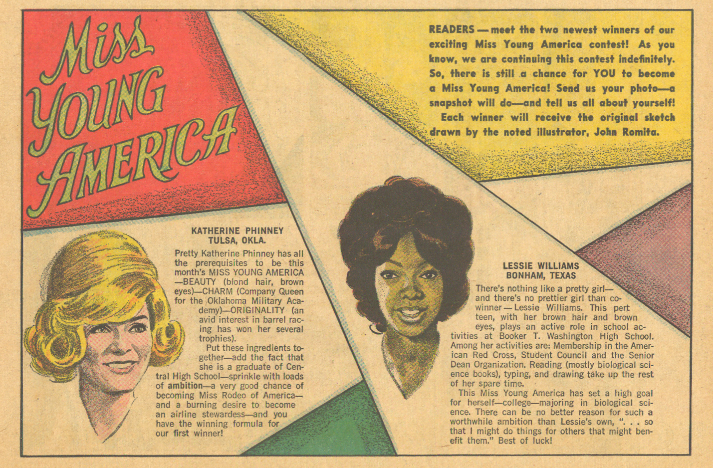 Miss Young America contest comic book