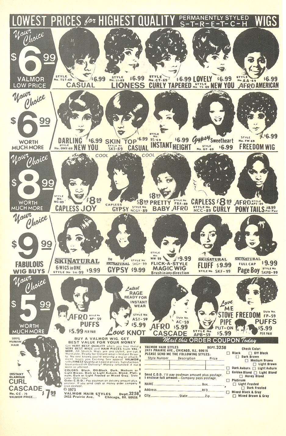 1973 wig and fall advertisement