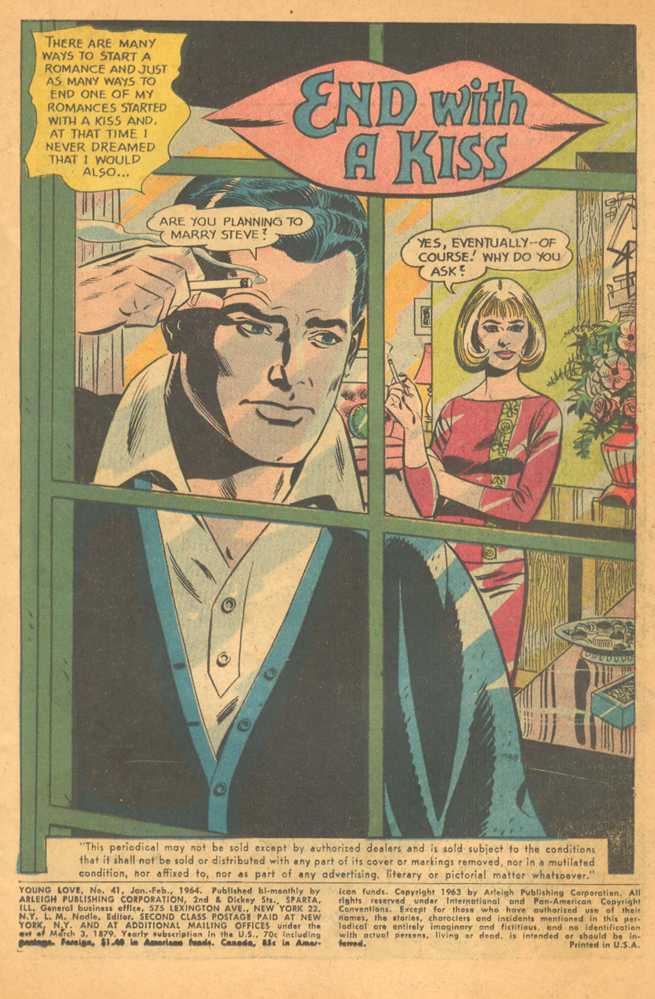 """End With A Kiss""  Young Love  #41 (January/February 1964)"
