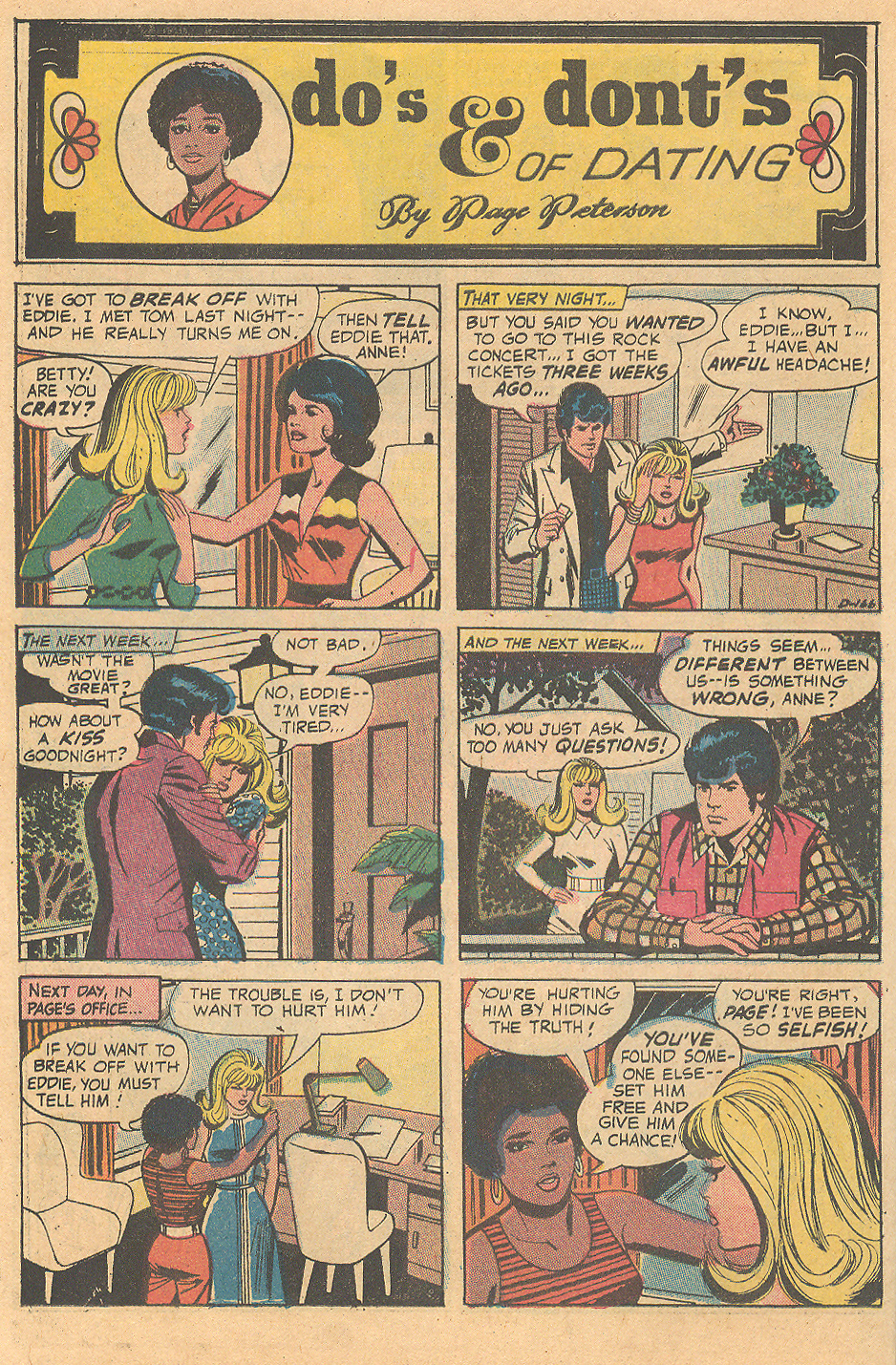 """""""Do's & Dont's of Dating""""  Young Romance  #179 (February 1972)"""