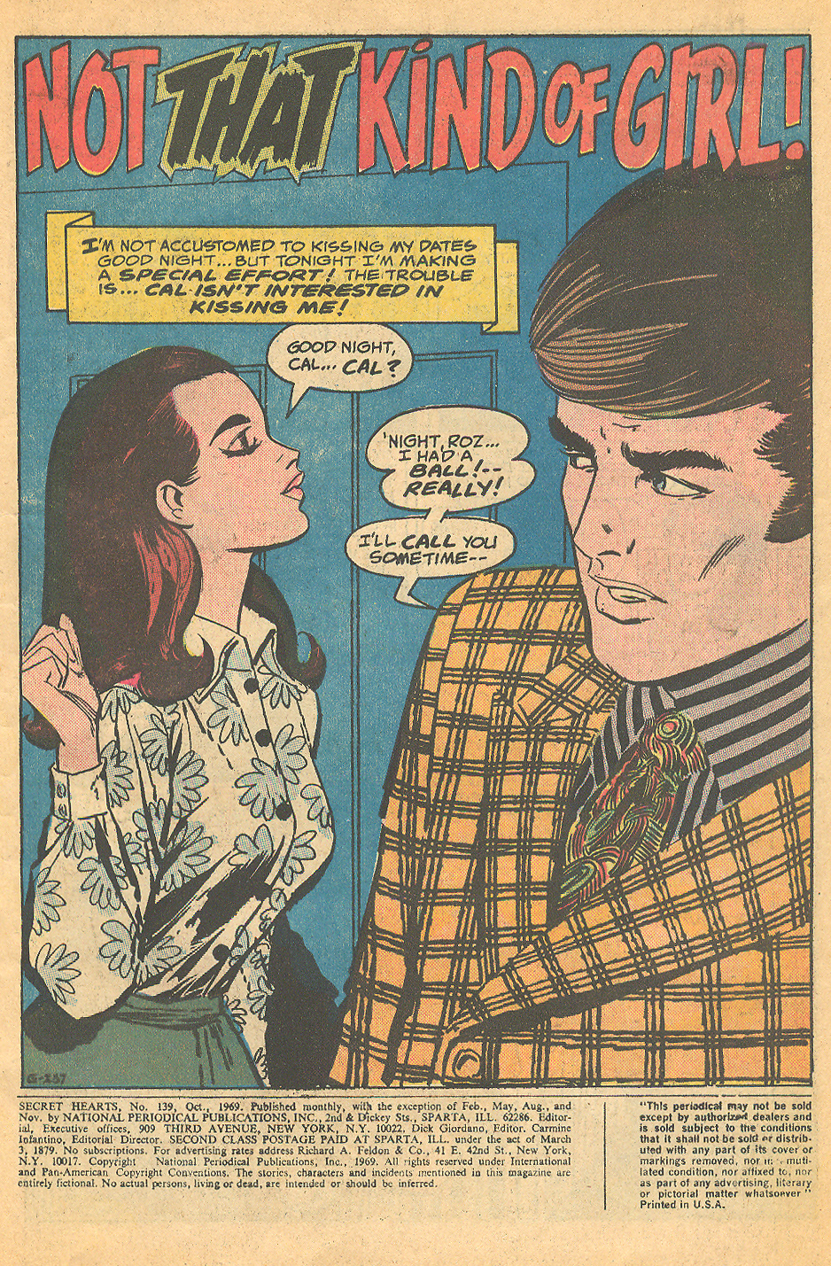 """The October 1969 issue of Secret Hearts had two Mortimer illustrated stories in it! Twice the fist -- all for 15 cents! """"Not That Kind of Girl!""""  Secret Hearts  #139 (October 1969)"""