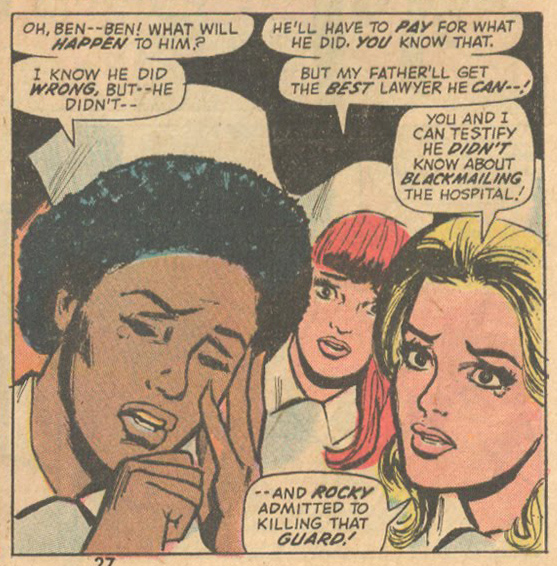 Mortimer incorporated a little fist action into the Marvel classic,  Night Nurse !    Night Nurse  #1 (November 1972)