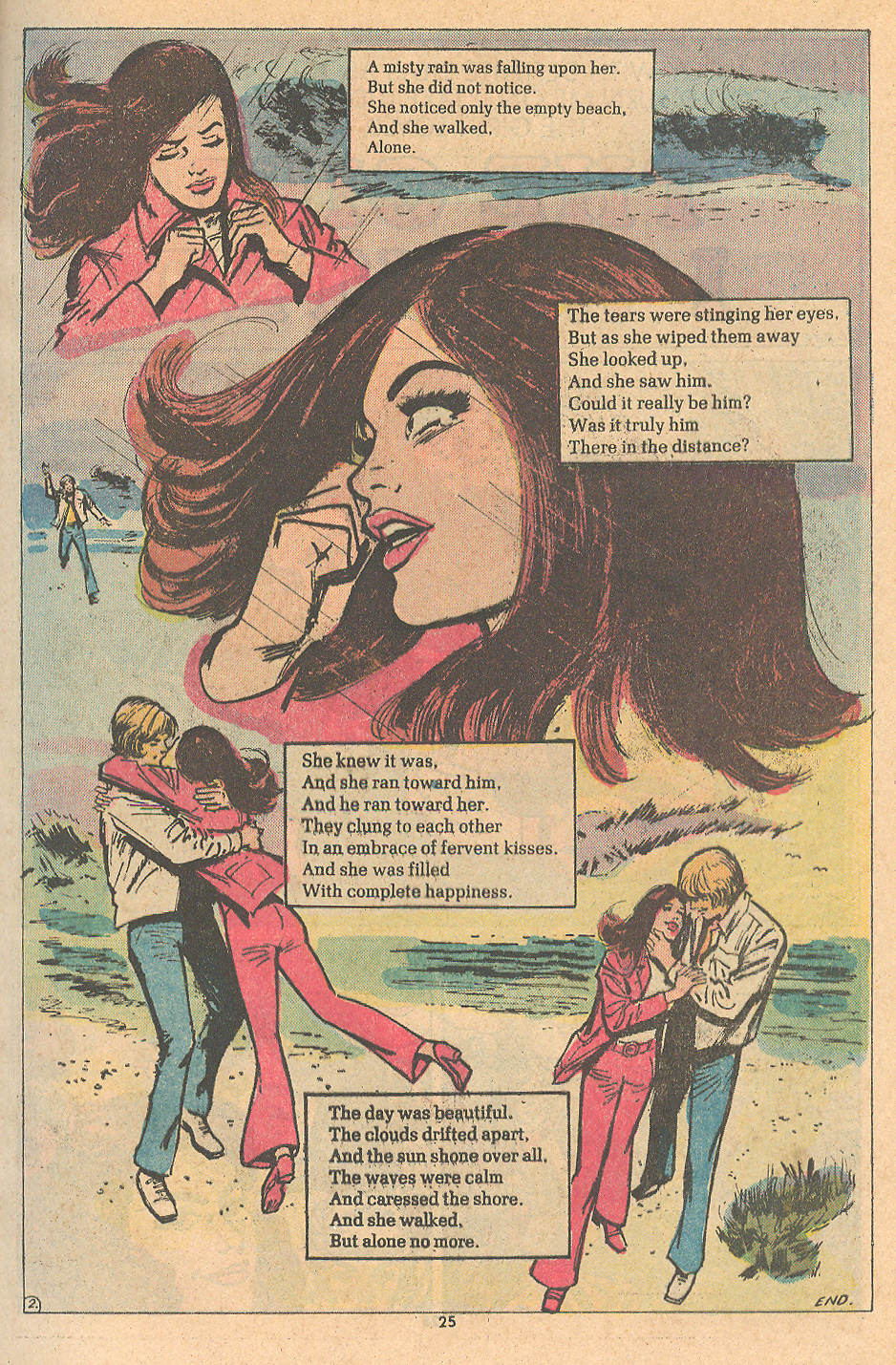 """Even short two-page stories deserve the Mortimer fist treatment! """"The Walk""""   Young Romance  #198 (March/April 1974)"""