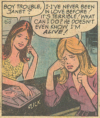 """I count three little fists in this panel! """"Love Expert""""  Young Love  #111 (August/September 1974)"""