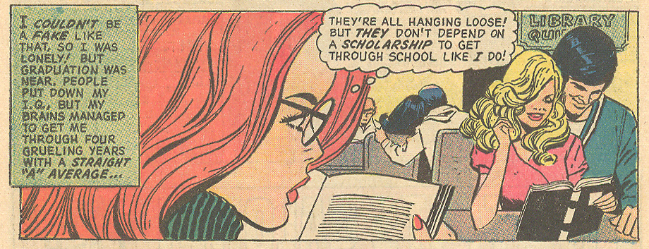 """""""Too Smart to Love!"""" from Falling in Love #137 (October 1972). Penciled by Ric Estrada and inked by Vince Colletta"""