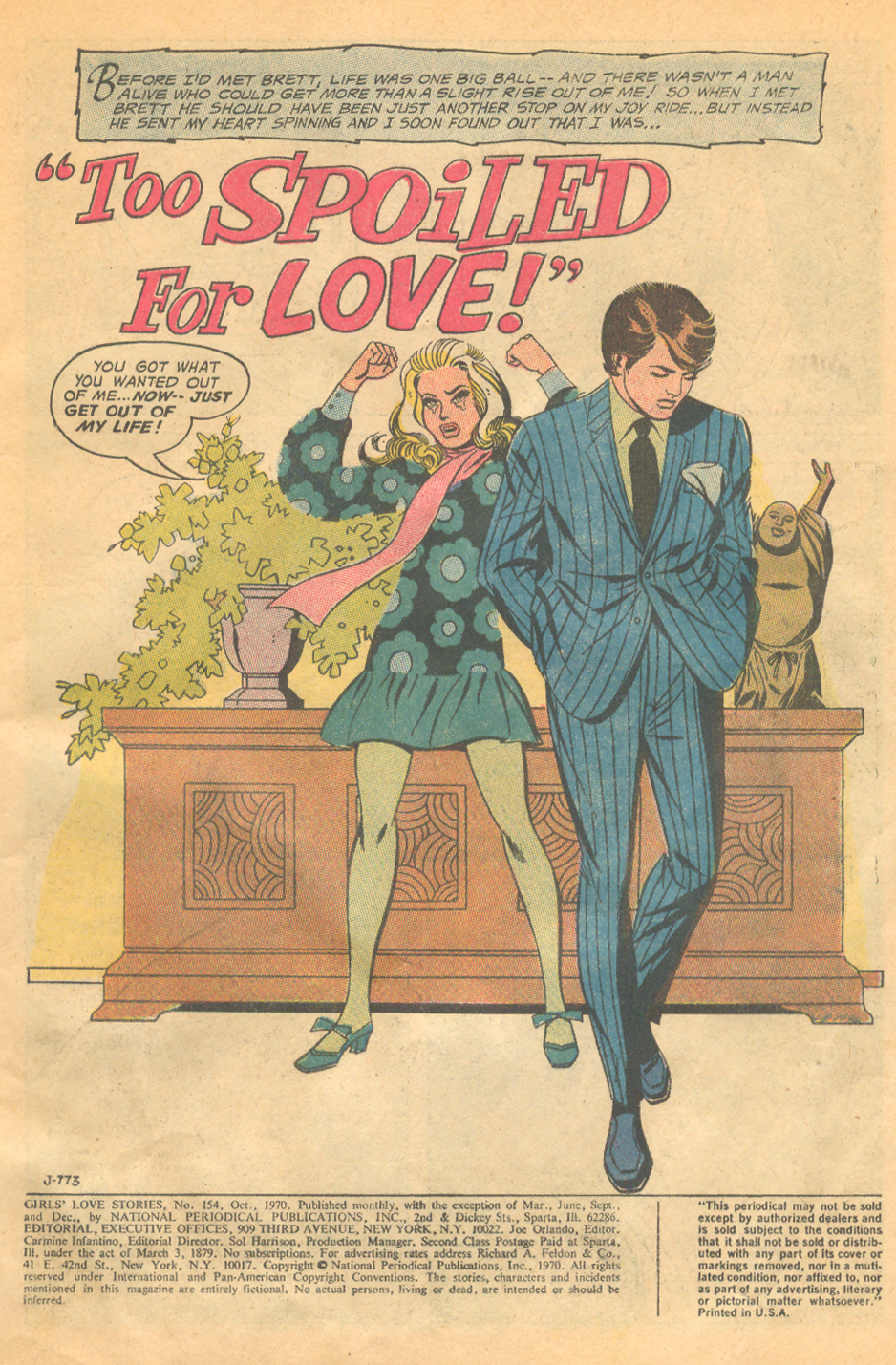 """""""Too Spoiled for Love""""  Girls' Love Stories  #154 (October 1970)"""