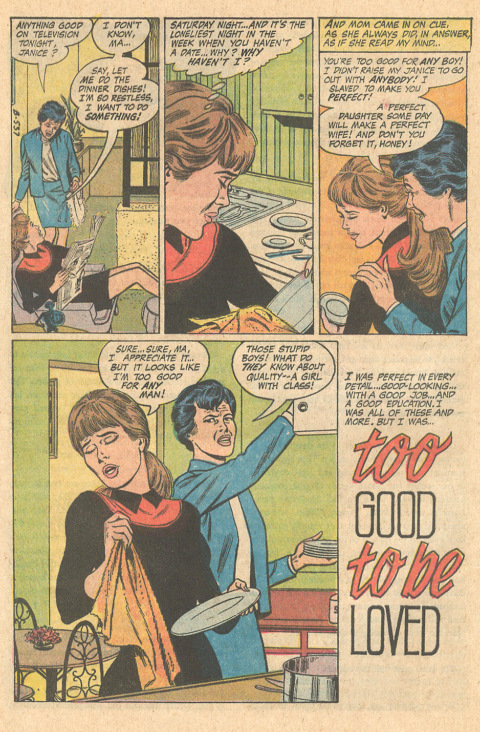 """""""Too Good to be Loved""""  Girls' Romances  #149 (June 1970)"""