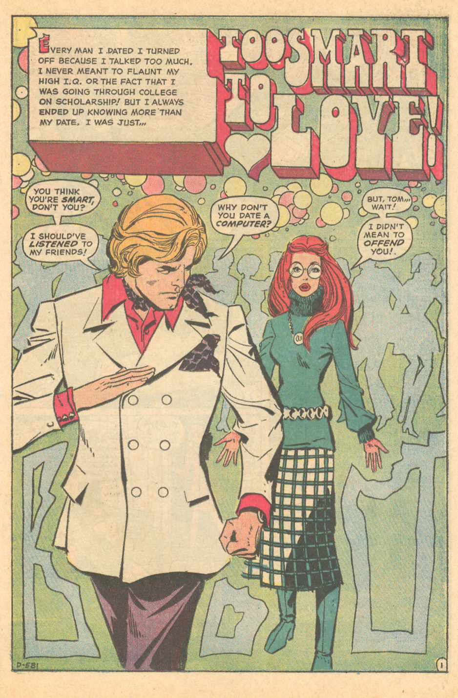 """""""Too Smart to Love""""  Falling in Love  #137 (October 1972)"""