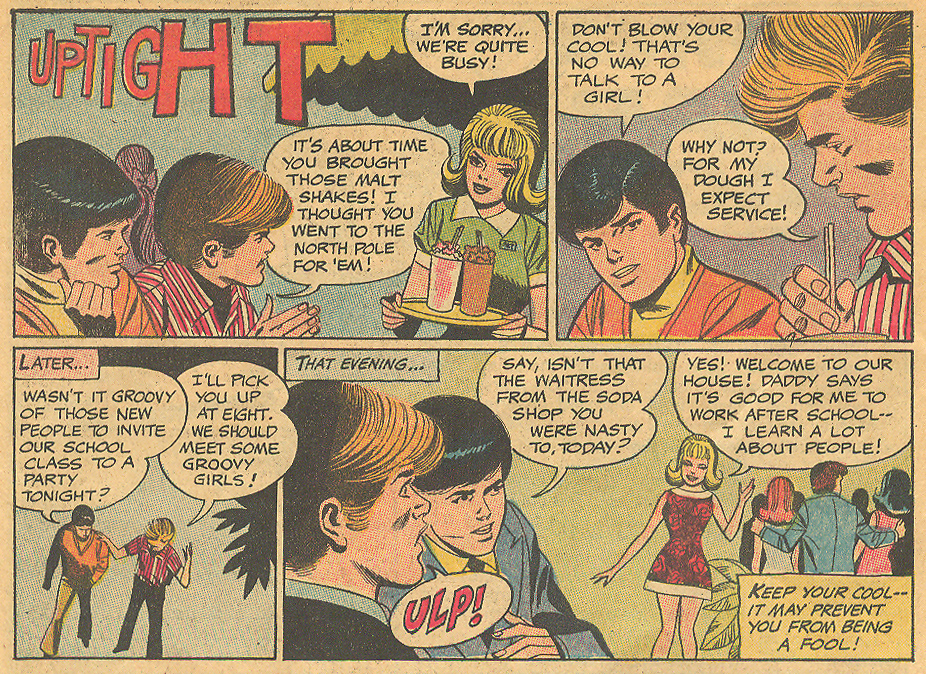 """""""Uptight""""  Heart Throbs  #130 (February/March 1971) Illustrated by Win Mortimer"""