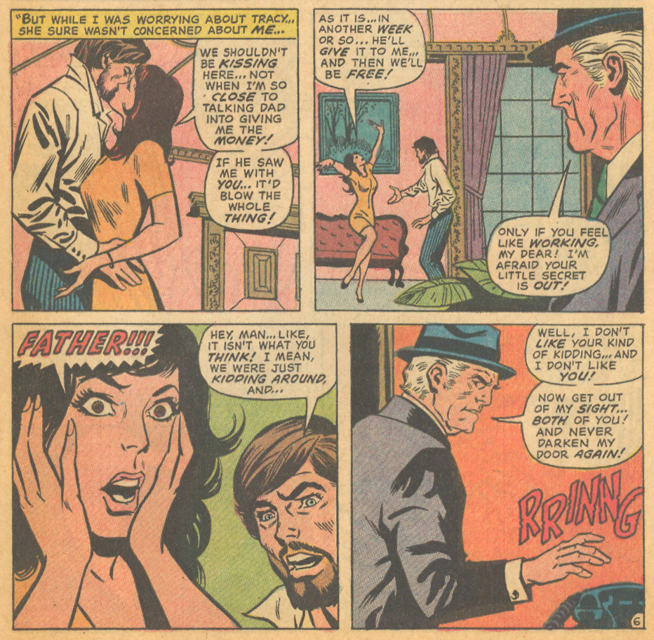 """""""The Game of Triangles!"""" Our Love Story #20 (December 1972) Cover art by Alan Weiss (pencils) and Frank Giacoia (inks), Story penciled by George Tuska and inked by Paul Reinman Story written by Joy Hartle"""