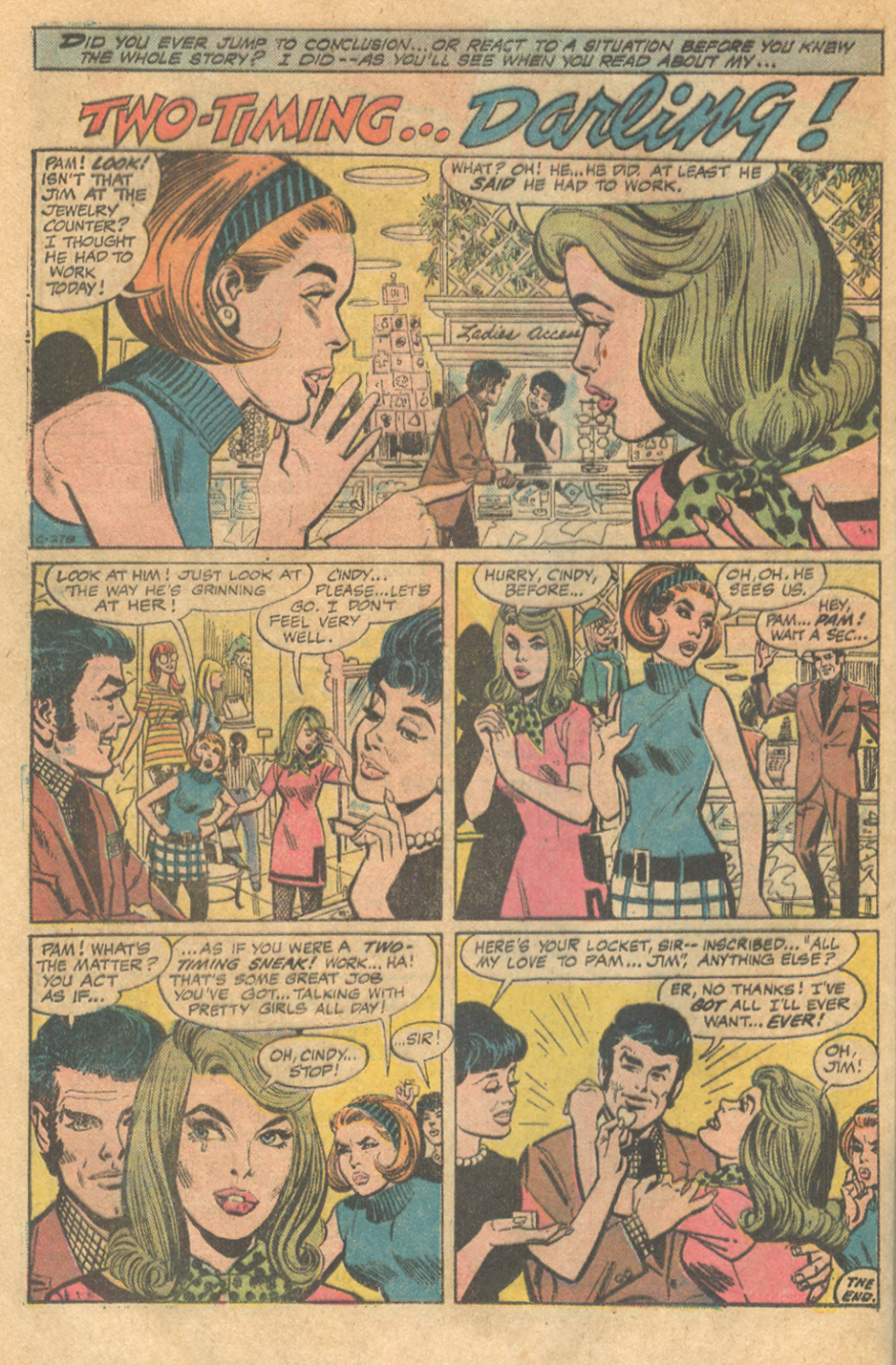 """Two-Timing...Darling!""  Young Love  #121 (October 1976) Pencils by Mike Sekowsky, Inks by Dick Giordano"