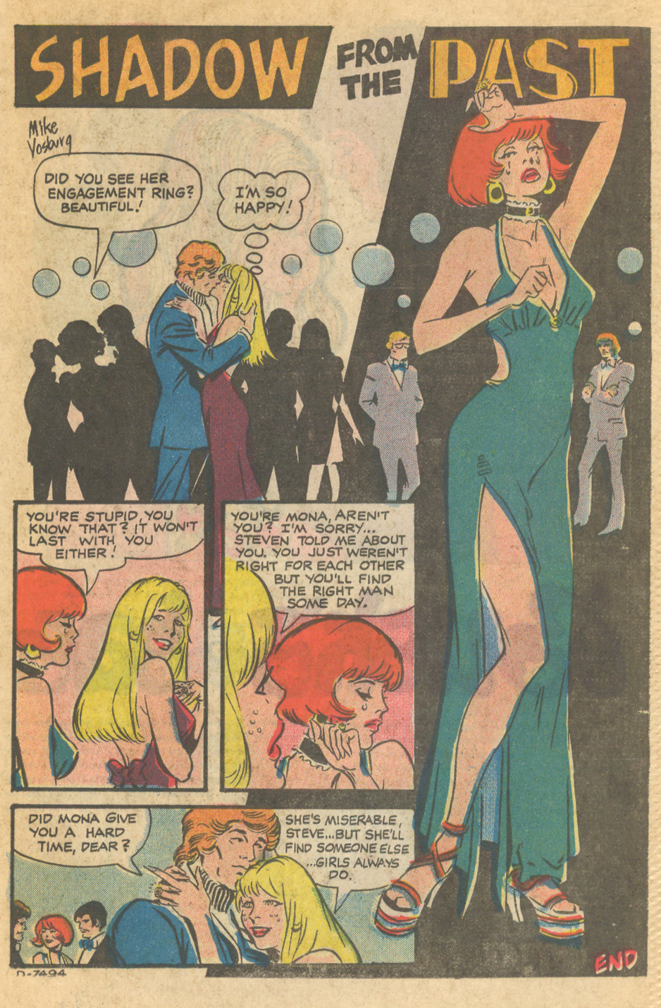 """Shadow from the Past""  I Love You  #127 (December 1979), Pencils and inks by Mike Vosburg"