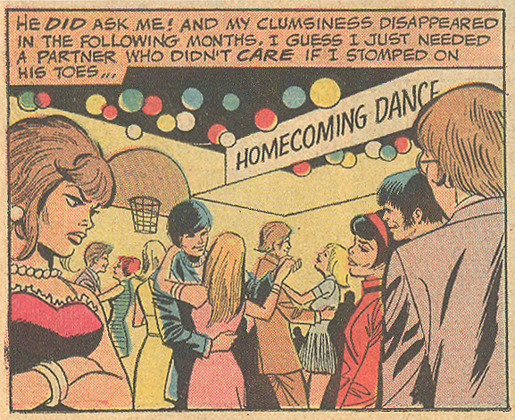 """Too Clumsy to Love""  Girls' Love Stories  #168 (April 1972) Penciled by   Saaf   and inked by Mike Esposito"
