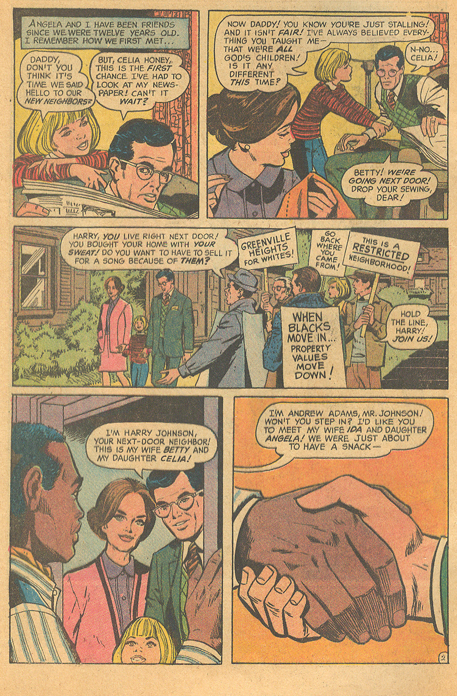 No, you are not imaging things. You have seen that handshake before -- in the saga of  Margo and Chuck , also penciled by Werner Roth.