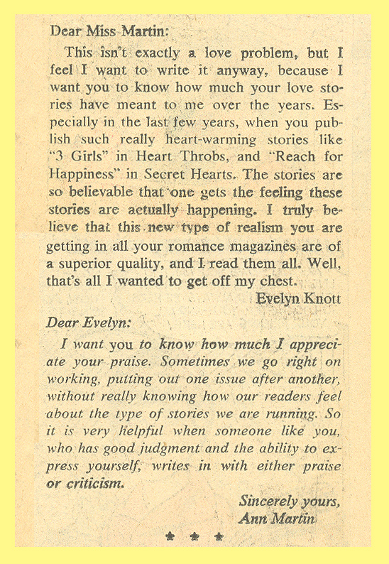 """Ann Martin Counselor-At-Love""  Secret Hearts  #121 (July 1967)"