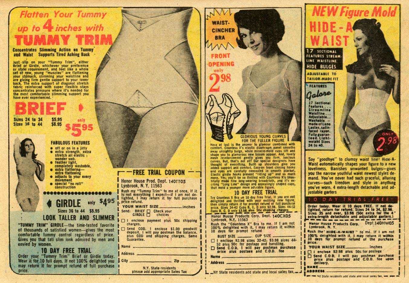 Vintage romance comic book advertisement Girdles