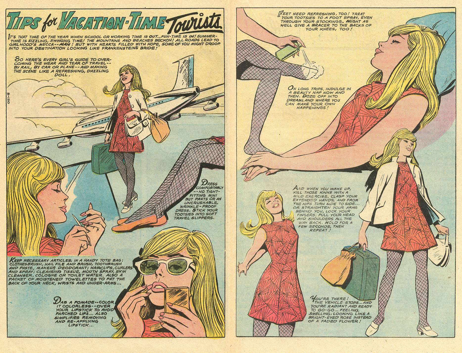 """""""Tips for Vacation-Time Tourists!""""  Falling in Love  #117 (August 1970)"""