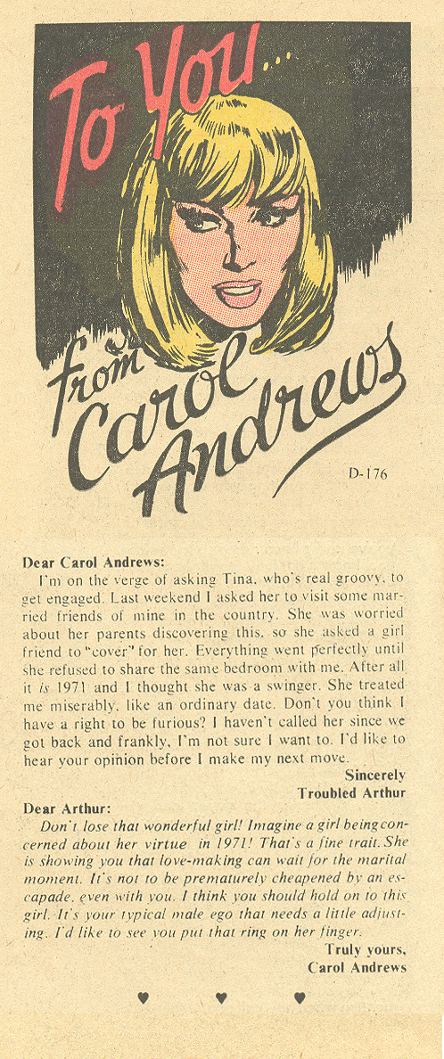 """""""To You... from Carol Andrews""""  Falling in Love  #123 (May 1971)"""