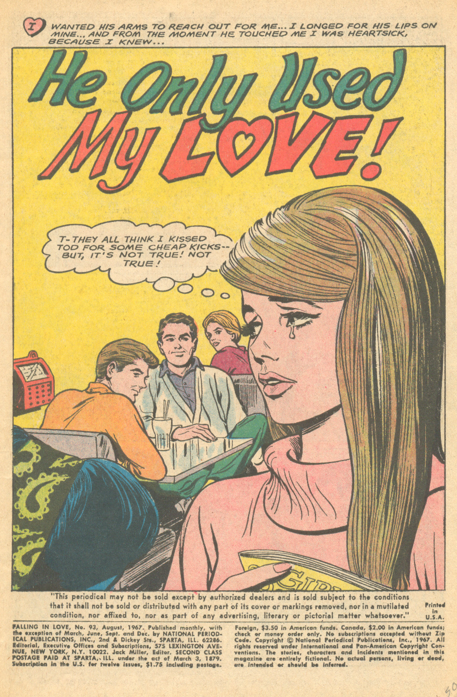 """""""He Only Used My Love!""""  Falling in Love  #93 (August 1967) Pencils by Win Mortimer"""