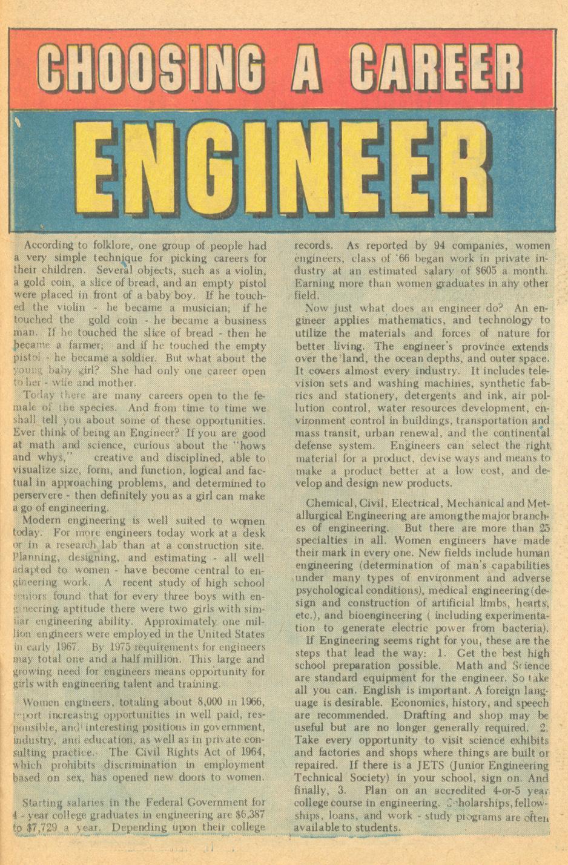 """""""Choosing a Career - Engineer""""  Career Girl Romances  #57 (June 1970)"""