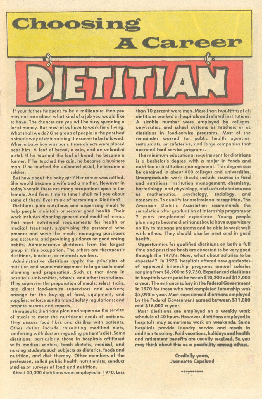 """Choosing a Career - Dietitian""  Career Girl Romances  #73 (February 1973)"
