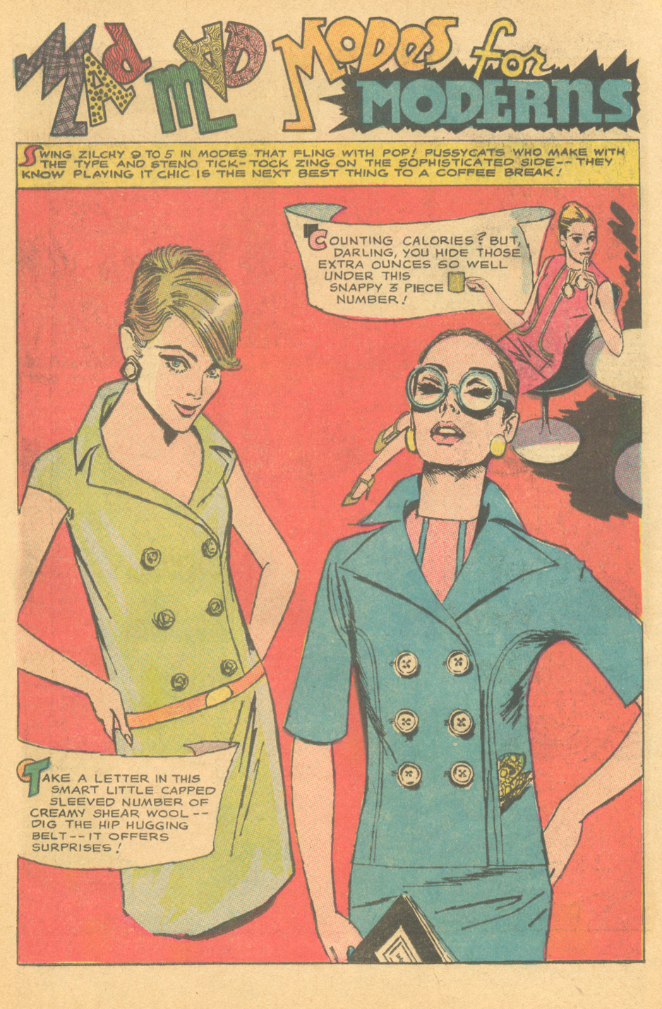 """""""Mad Mad Modes for Moderns""""  Girls' Romances  #122 (January 1967) Illustrated by Tony Abruzzo"""
