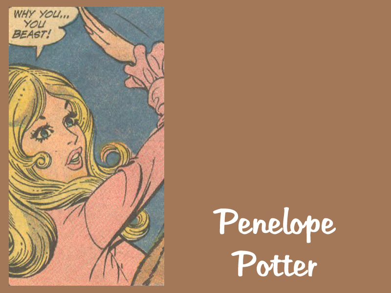 "Penelope Potter  from ""The Mis-Adventures of Penelope Potter"" in issues of    Secret Hearts  and  Young Love"