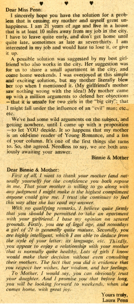 """Laura Penn... Your Romance Reporter""  Young Romance  #161 (August/September 1969)"