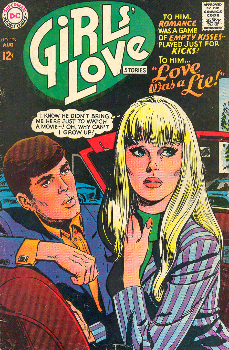 """Love Was a Lie!"" (Cover and pencils by Jay Scott Pike) from Girls' Love Stories #129 (August 1967)"