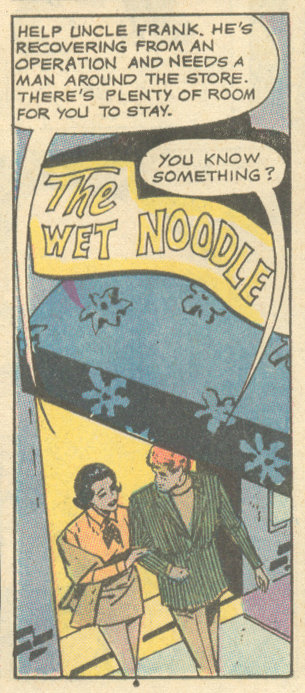 "Perhaps some pasta at the Wet Noodle? ""Happy Ending!""  Young Love  #82(September/October 1970)"