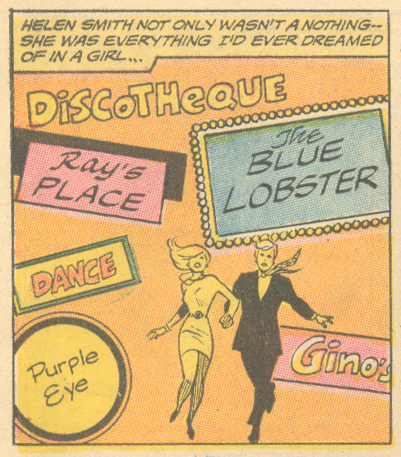 "Seafood... pizza... dancing?! Sounds like quite a night if you ask me! ""Love is Where You Find It!""  Heart Throbs  #128 (October/November 1970)"