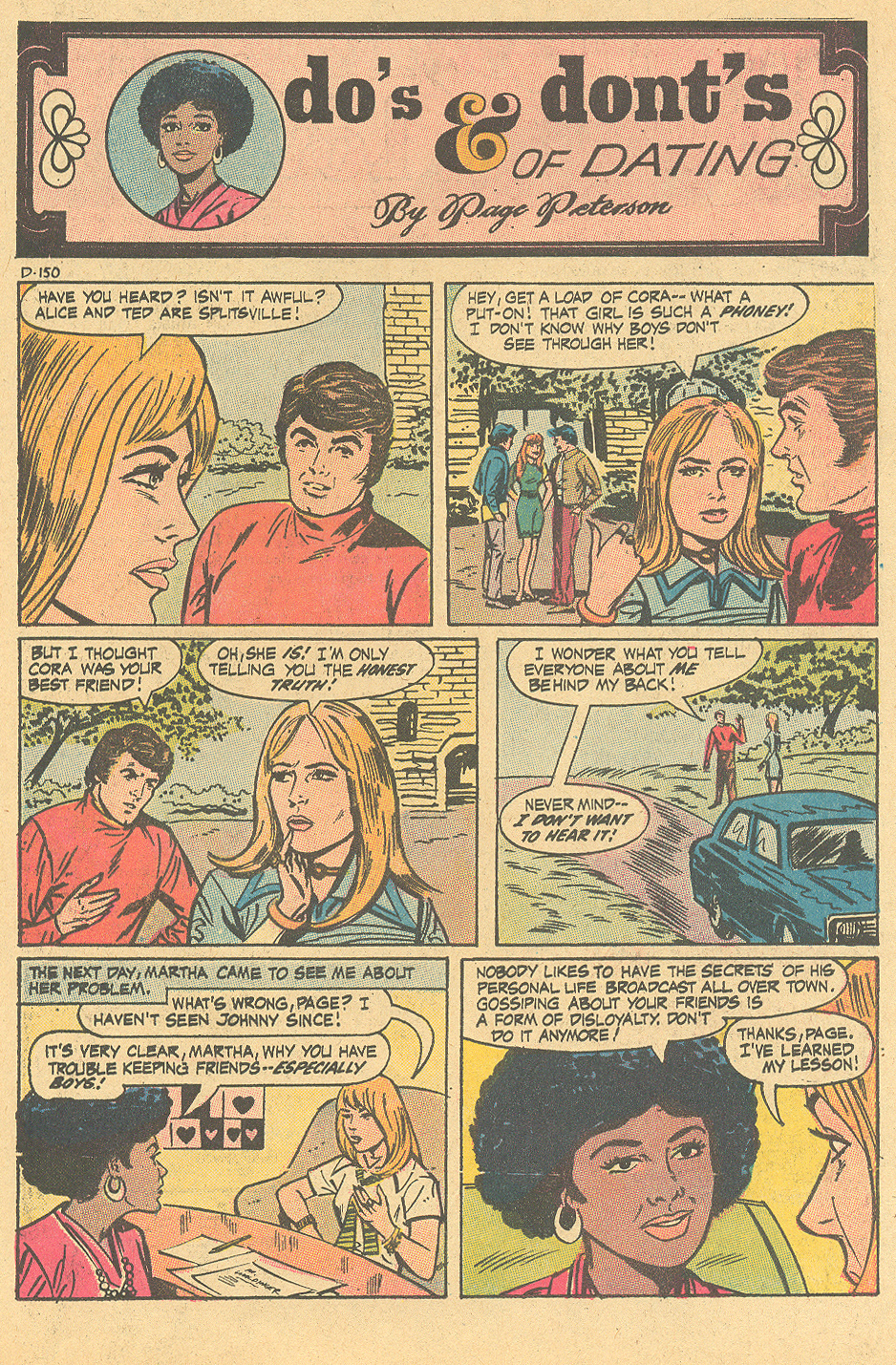 """""""Do's & Dont's of Dating by Page Peterson""""  Girls' Love Stories  #159 (May 1971)"""
