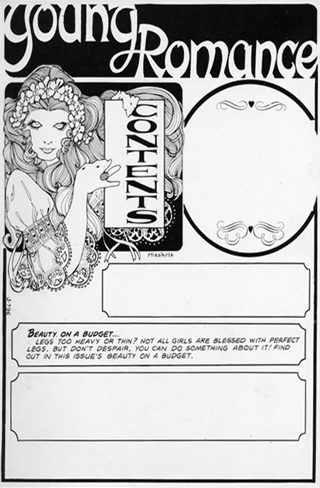"Penciled and inked ""Contents"" page and ""Your Fashion Horoscope"""