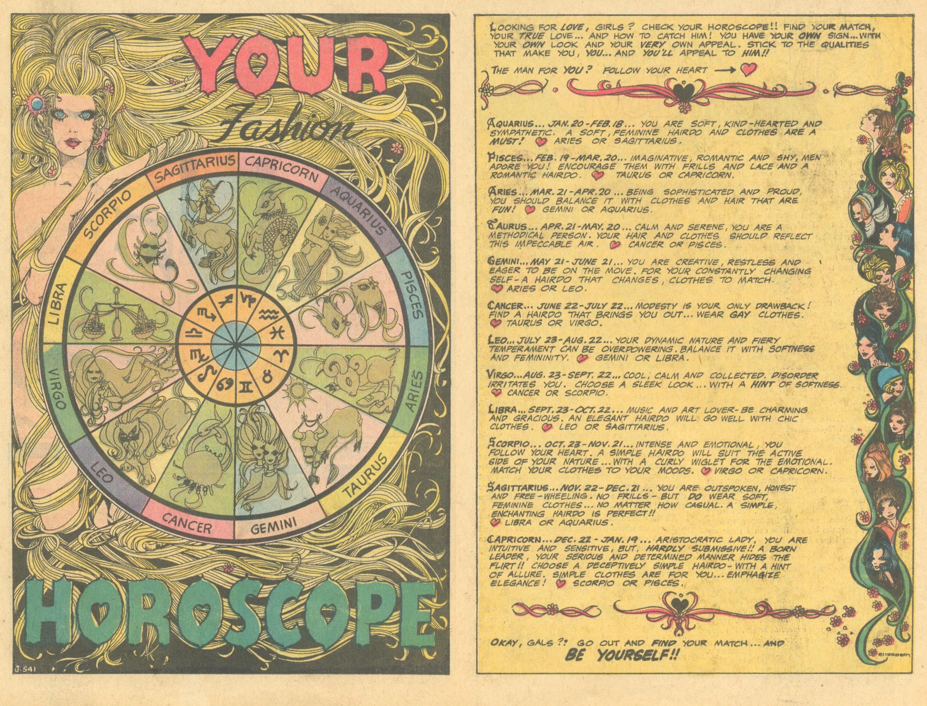 """Your Fashion Horoscope""  Girls' Love Stories  #147 (November 1969)"