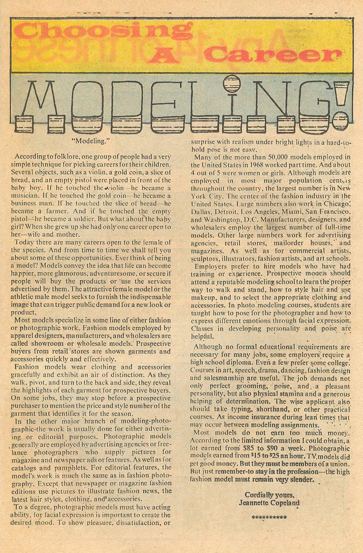 """Choosing a Career: Modeling!""  Career Girl Romances  #71 (October 1972)"