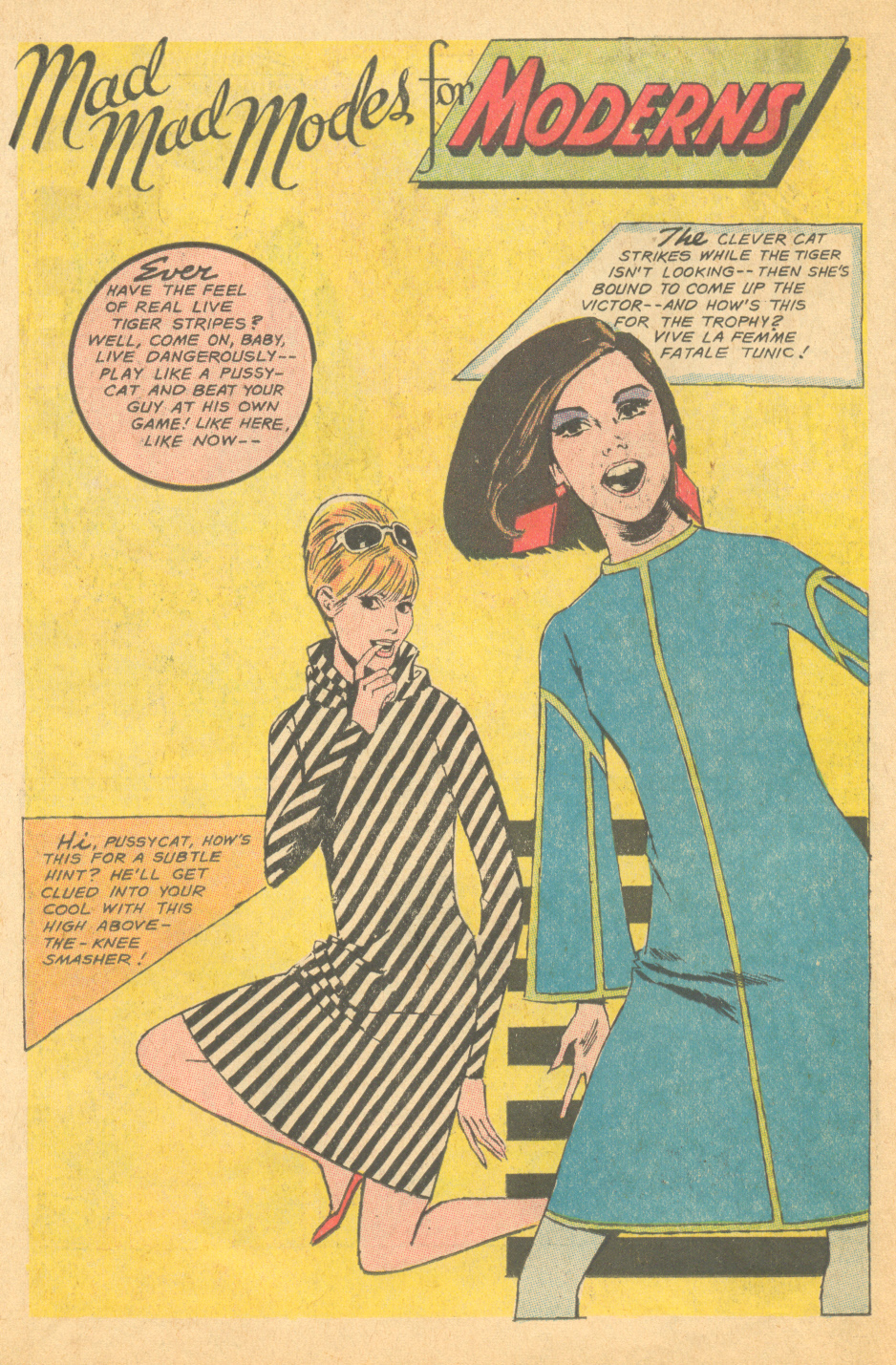 """""""Mad Mad Modes for Moderns"""" Illustrated by Tony Abruzzo Falling in Love #90 (April 1967)"""