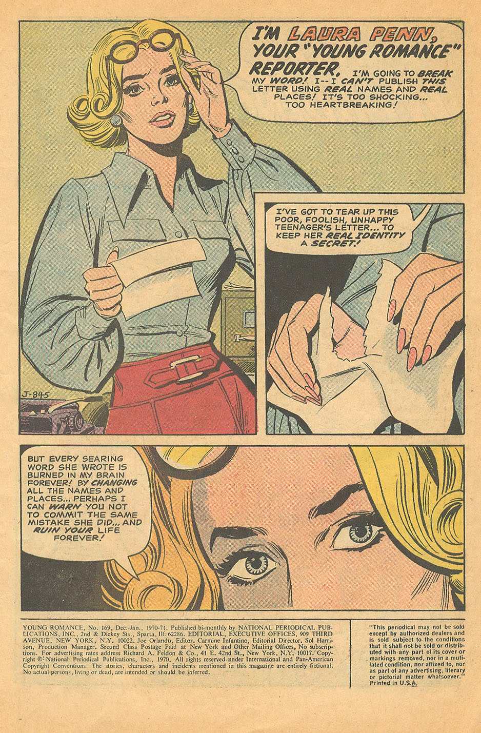"""""""No Wedding Ring for Me!""""  Young Romance  #169 (December/January 1971)"""