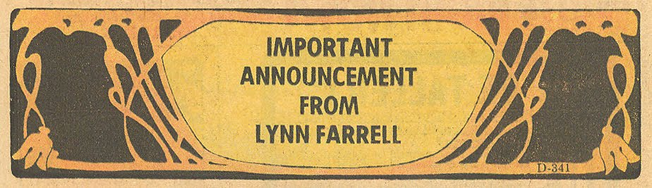 Announcements from advice columnist romance comic
