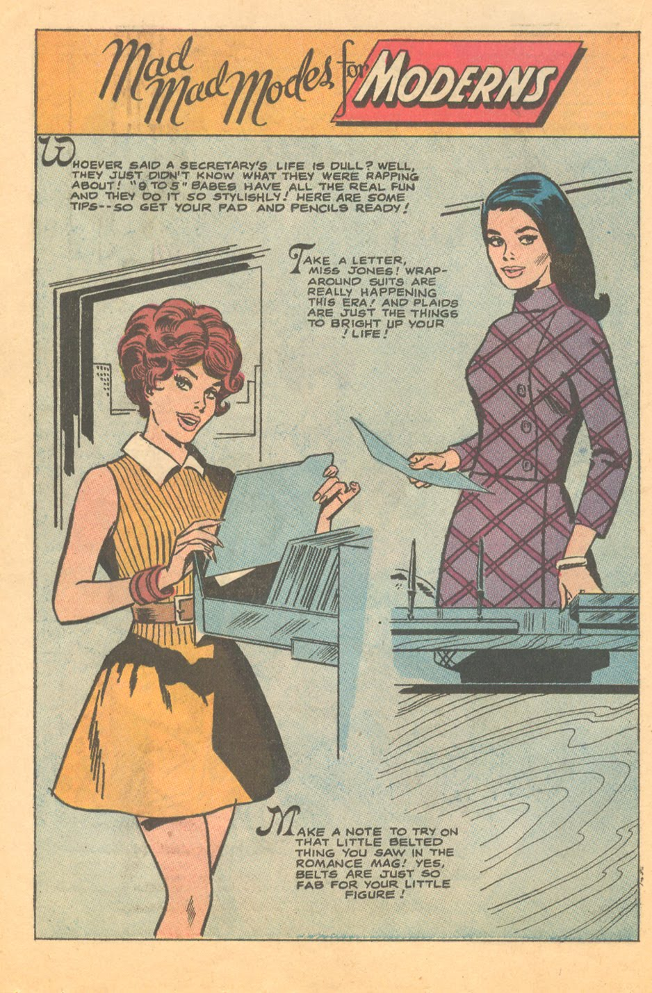 Midcentury fashion illustration workplace career women