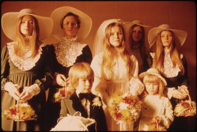 Ugly bridesmaid dresses from the 1970s floppy hats