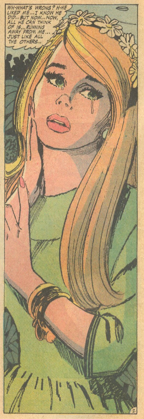"A bridesmaid with my name, wearing green? It must be a sign! ""Please, Please, Someone, Love Me!""  Young Romance  #166 (June/July 1970)"