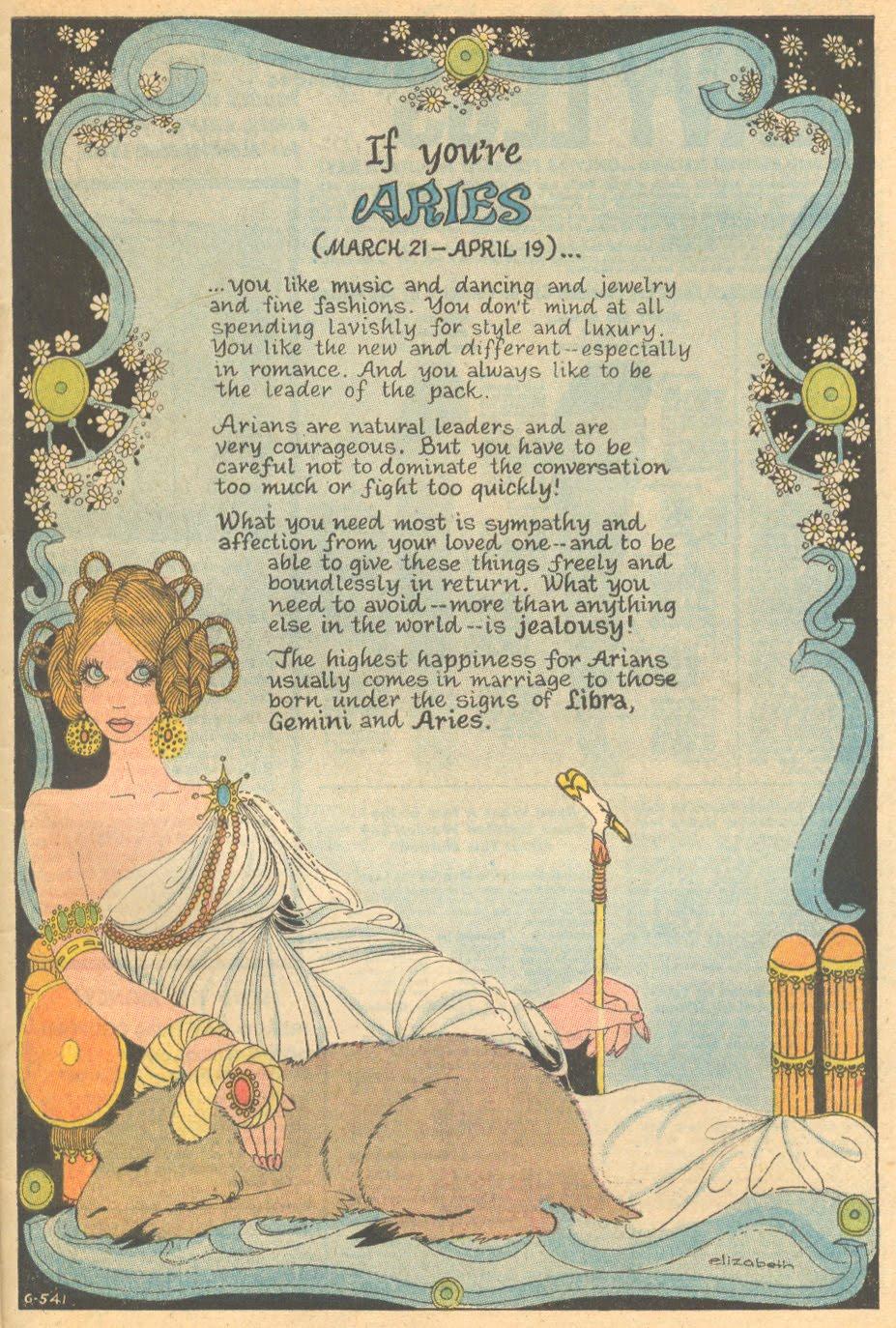 Aries Horoscope by Elizabeth  Secret Hearts  #143 (April 1970)