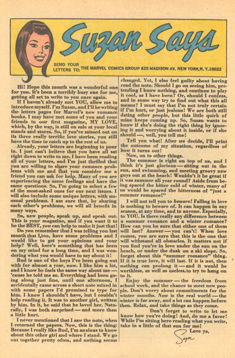 Suzan's first  Our Love Story  column Issue #1 (October 1969)