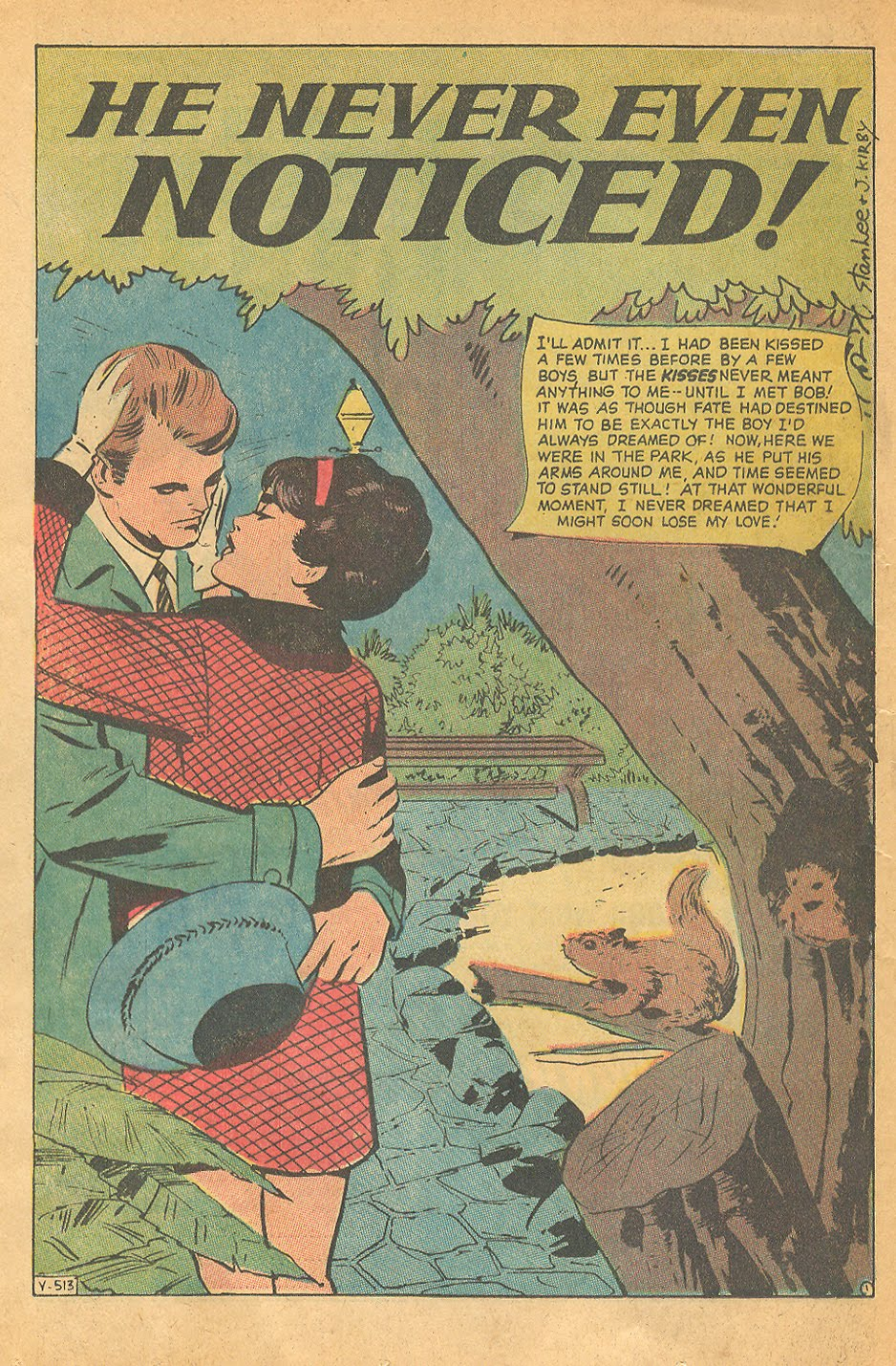 """Even the great Jack Kirby got in on the action! """"He Never Even Noticed!"""" (the squirrels that   is  !) Originally from  Teen-Age Romance  #86 (March 1962) Reprinted in  My Love  #10 (March 1971)"""