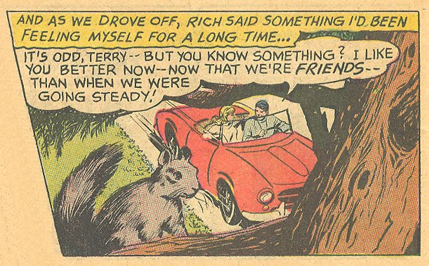 """Jay Scott Pike's version. Cute, huh? """"Take Me Back""""  Young Romance  #151 (December/January 1967)"""