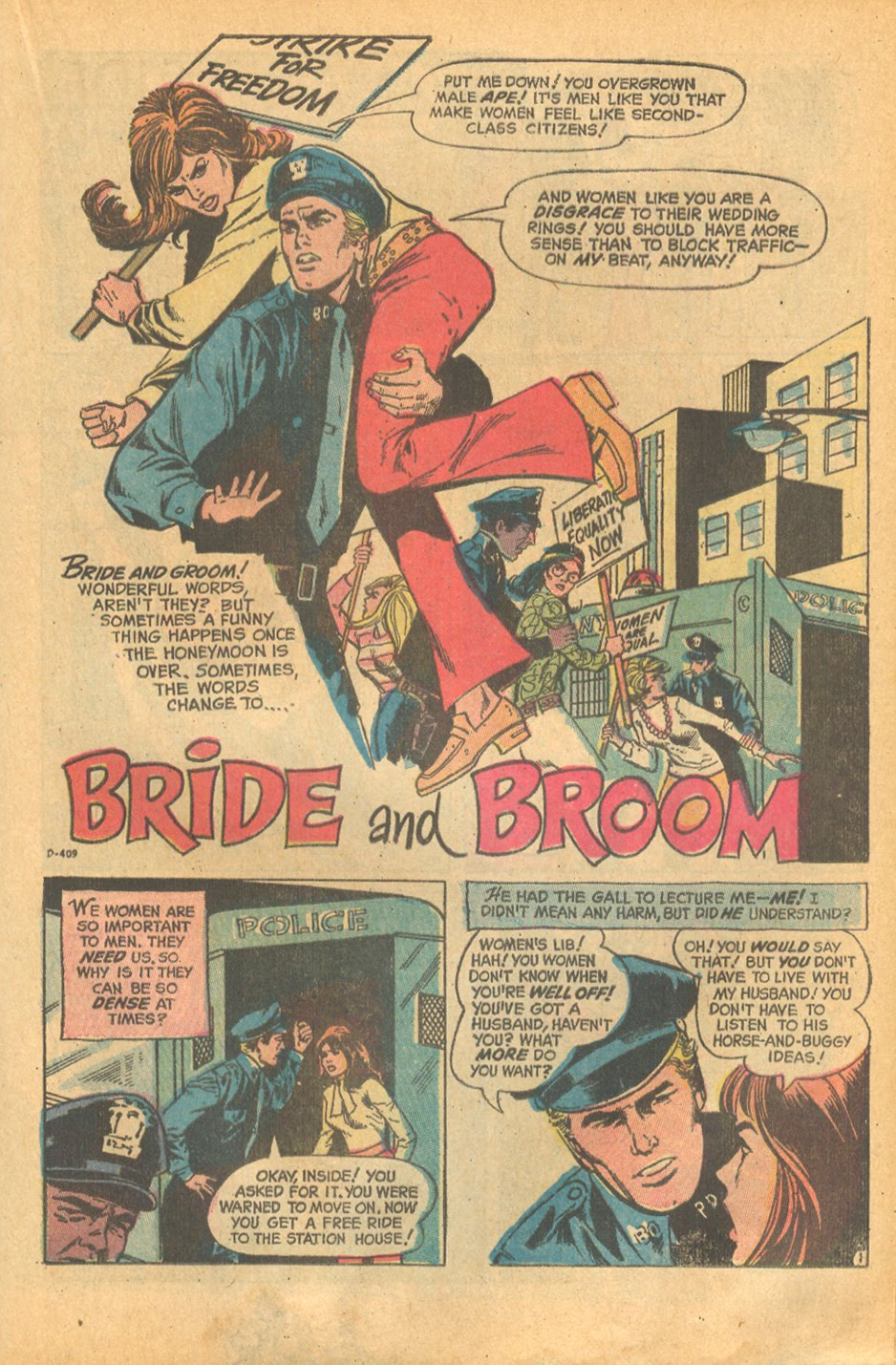 Romance comic book Women's Lib in popular culture