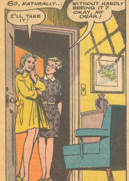 """Little does Joan know, her new apartment in Greenwich Village doesn't have a closet! From """"The Most Wonderful Boy in the World""""  Young Romance  #150 (October/November 1967)"""