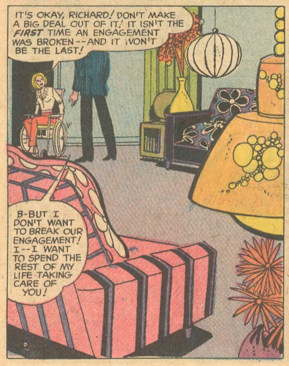 """This groovy pad is wheelchair accessible! From """"Don't Pity Me -- Love Me!""""  Falling in Love  #108 (July 1969)"""