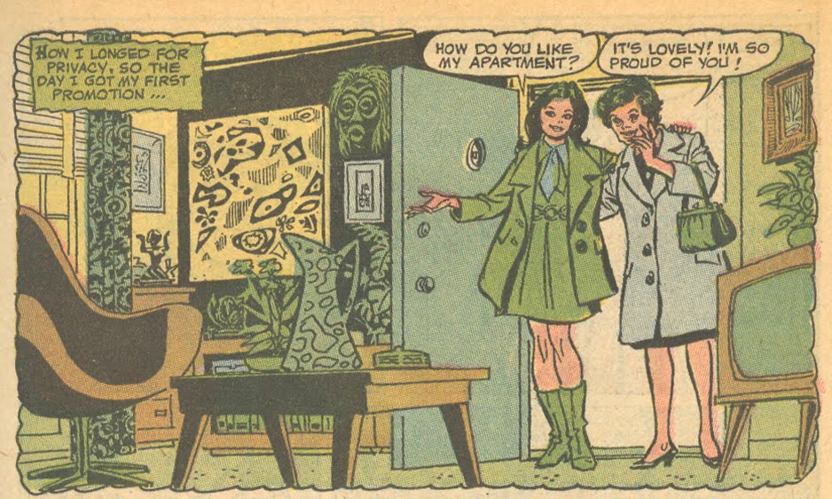 """""""It is lovely honey, but I think the place could use a tad more green!"""" From """"Hide My Past, My Heart""""  Falling in Love  #120 (January 1971)"""
