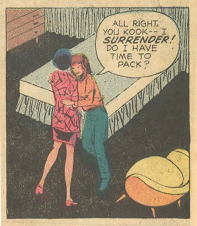 """Eviction stinks! Be sure to pack that awesome chair! From """"Last Fling!""""  Falling in Love  #135 (August 1972)"""